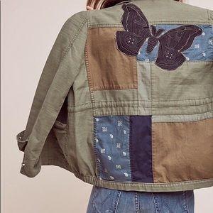 Anthropologie Hei Hei military patchwork jacket